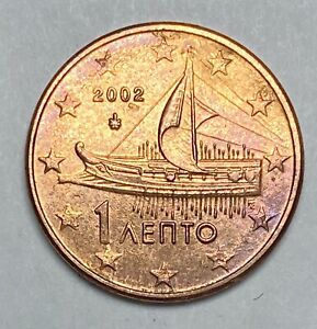 2002 Greece 1 Cent Euro Uncirculated Copper Plated Steel Coin  (3660)
