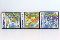 Pokemon Gold Silver and Crystal Custom Game Cases *NO GAME* (Game Boy Color GBC)