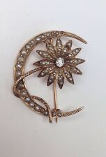 10K Yellow Gold Antique Moon and Sun Seed Pearl and Diamond Brooch