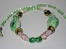 Women Necklace Murrano Glass Lime Green/Pink Beads with Earrings Set