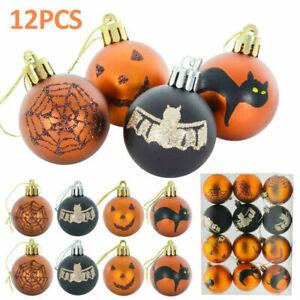 "12Pcs Mini Halloween Tree Baubles Glittery 2.4"" Party Decoration Ornaments"