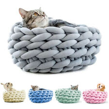 Chunky Knit Pet Nest Cotton Soft Cat Puppy Perch Cave Warm Kitten Bed Cushion