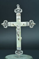 Elegant large Religious pectoral cross crucifix silver & mother of pearl 19Thc