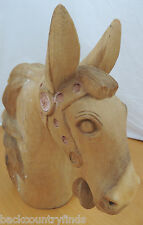 Wooden Hand Carved Horse Bust  Unique Large Home Decor Art