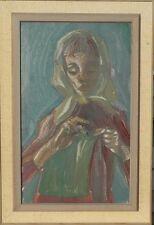 HILDEGARD FALK *1922 (LEIPZIG) FRAU MIT KOPFTUCH BEI DER HANDARBEIT /ÖLGEMÄLDE