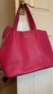 Stunning Furla Hot Pink Leather Shoulder Bag Tote With Detachable Purse Grainy