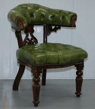 Victorian Horseshoe BACK Chesterfield green leather capitaine Reading chair