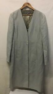 Jigsaw Ladies Trench Overcoat In Grey/Green (Small mark on cuff) Size 16 (003)