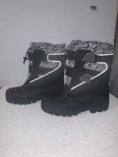 Boys Lands End Black & Camouflage Snow Boots Kids Size 4