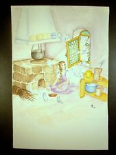 Snow White 1950 Original Watercolor Pencil Sketch by C. Kelm
