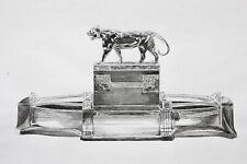 Versilberter Art Deco Tafelaufsatz mit Tiger, WMF, Geislingen, Federzeichnung