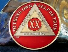 Red Alcoholics Anonymous 20 Year AA Medallion Coin Token Chip Sobriety Sober
