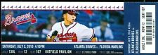 2010 Braves vs Marlins Ticket: Tommy Hanson win/Billy Wagner save