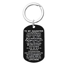 To My Daughter Love Mom Stainless Steel Black Appreciation Note Keychain Gift