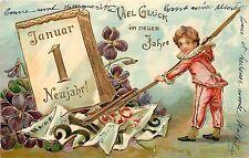 c1906 Embossed German New Year Postcard Jan. 1 Child Rakes Up Old Calendar Paper