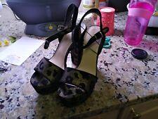 Nine West High Heel Gold Leopard Print 7 inch heels open toe size 7