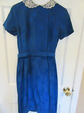 Vintage 1960's Lai Wah Chinese Dress Blue Silk Belted Pencil Skirt Small