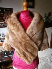 Beautiful vtg GOLDEN PASTEL real mink fur bolero/stole, little sleeves, MINT!