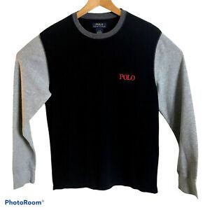POLO Ralph Lauren Mens L Black/Gray Waffle Knit Thermal Raglan Crew-Neck T-Shirt