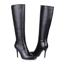 Womens Party Shoes Black Genuine Leather High Heels Zip Knee Boots US Size b067