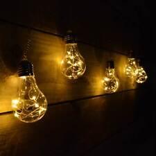 Set of 5 Premier Battery Edison Bulbs - 40 Warm White Pin Wire LEDs & Timer