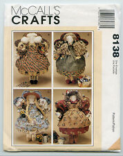 MCCALL'S CRAFTS 8138 18 1/2 INCH ANGEL RAG DOLLS + CLOTHES   COUNTRY STYLE UC