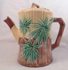 Etruscan Majolica Bamboo Teapot & Lid Antique Griffin Smith & Hill