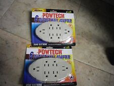 New ! 2 X 6 Oval 6 Outlet Wall Apapter Electric Wallmount Tap Power Ul Listed