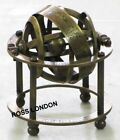 BRASS TABLE TOP ARMILLARY ZODIAC ANTIQUE COLLECTIBLE SPHERE GLOBE 3.5 INCH GIFT
