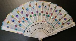 #106 Chinese fan folded party white sequins multi colored, accordion folded