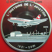2002 CHAD 1000 FRANCS SILVER PROOF MCDONNELL-DOUGLAS DC-10 JET AIRLINER AVIATION