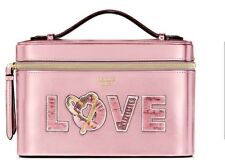 RUNWAY TRAIN VANITY MAKE-UP CASE Victoria's Secret Pink Heart Sequin Bling New