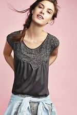 New $78 Anthropologie Bibbed Verona Tee by Meadow Rue SMALL Gray