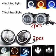 "7"" Round LED Headlight+4"" 30W LED Fog Light Halo Angel Eye DRL Jeep Wrangler JK"
