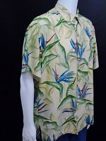 Tori Richard Large Hawaiian Aloha Shirt Bird of Paradise Floral Tan Blue Green