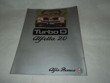 """PUBBLICITA' AUTOMOBILI  """"ALFA ROMEO ALFETTA 2.0 TURBO D"""" STAMPATO NEGLI ANNI '80"""