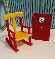 Vintage 1940s Renwal Dollhouse Furniture Rocking Chair Floor Radio Plastic Ideal