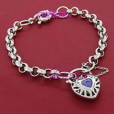 18ct White Gold GF Bracelet Belcher Chain Rings Clasp Padlock Simulated Diamonds