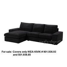 IKEA COVER for IKEA KIVIK Loveseat & Chaise Lounge Tranås Tranas Black Corduroy