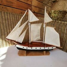 Stunning Model Wooden Sailing Galleon Ship Approx. 14 Inches