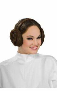 LICENSED PRINCESS LEIA COSTUME HEADBAND BUNS STAR WARS FANCY DRESS HALLOWEEN WIG