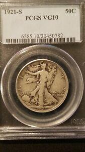 1921-S Liberty Walking Half Dollar * PCGS VG10* Semi Key Date* Mintage 548,000 *