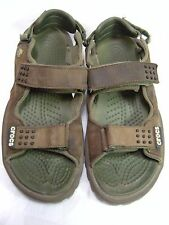 Crocs Mens Rubber Soled Water Hiking Fishing Shoes Sz 9 Double strap Brown #35 B