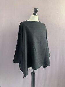 "WALL LONDON Gorgeous Textured Silk Asymmetric Top Top in Black M/L 48"" Chest"