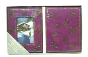 Vintage Journal & Frame Set Purple Embroidered Beaded Cloth Snowflakes Gift NEW