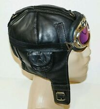 WWII Handmade Genuine Leather Aviator, Pilot,Motorcycle Helmet Hat Cap XL size