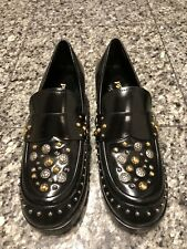PRADA Black Leather Studded Loafers Shoes