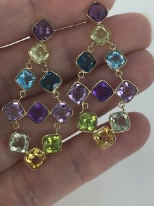 10KT Genuine Cushion Cut Bezel Wrapped Gemstone Chandelier Earrings Retail $479