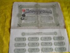 Vintage share certificate Stock Bonds The Lena Goldfields limited 1924