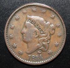 1834 Coronet Head USA Large Cent XF - Rim Cud